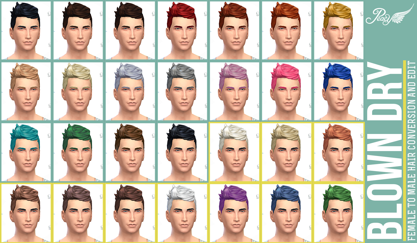 BlownDry - TS4 Female-to-Male Hair Conversion and Edit by Peacemaker ic