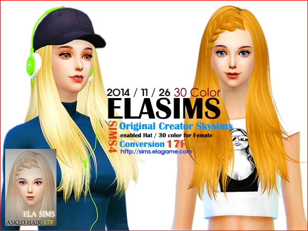Sims 4 Asked Hair 17F by Elasims