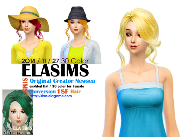 Sims 4 Asked Hair 18F by Elasims