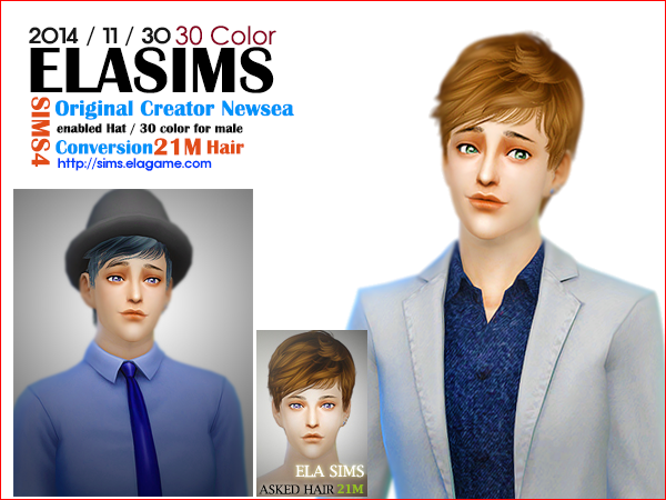 Sims 4 Asked Hair 21M by Elasims