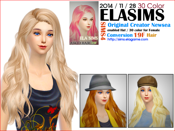 Sims 4 Asked Hair 19F by Elasims