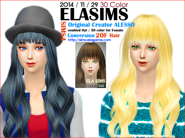 Sims 4 Asked Hair 20F by Elasims