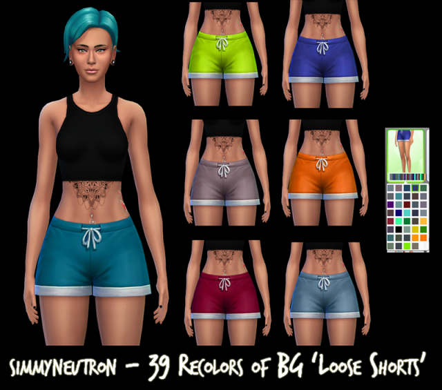 39 Recolors of BG Loose Shorts by Simmyneutron