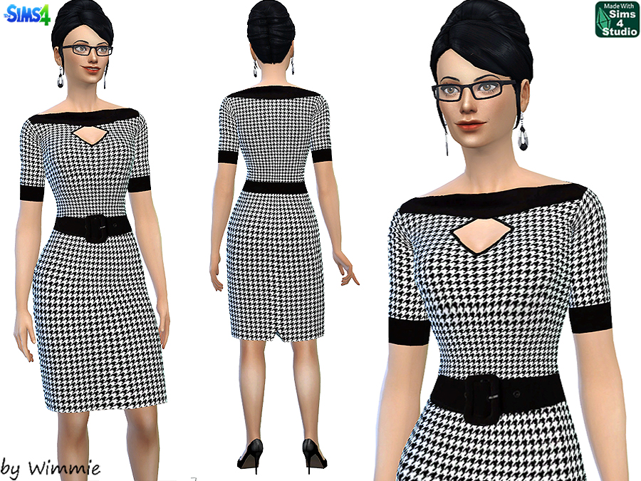 50s Houndstooth Dress at Just For Your Sims