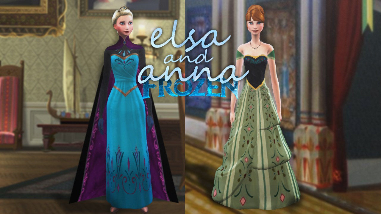 Anna and Elsa coronation dress at Plumbots09