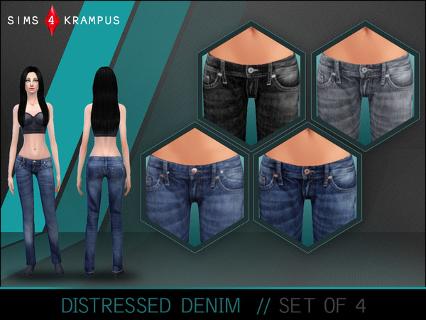 Distressed Denim Set of 4 by SIms4Krampus