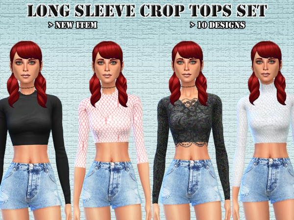 Long Sleeve Crop Tops Set by Novem