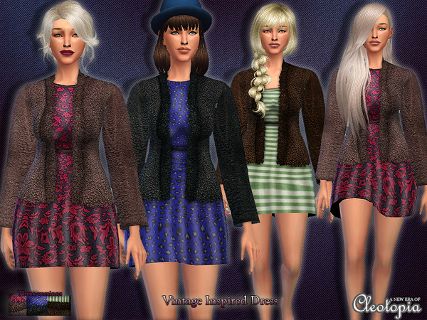 Set13- Vintage Inspired Dress with Coat by Cleotopia