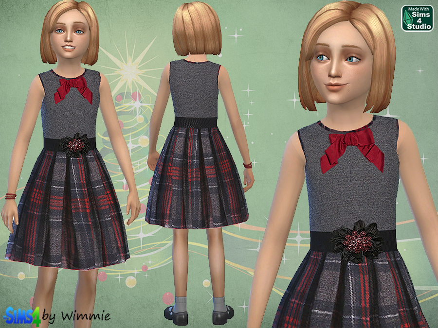Grey Tartan Dress for Girls at Just For Your Sims