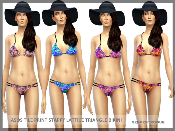 ASOS Tile Print Stappy Lattice Triangle Bikini by Serpentrogue