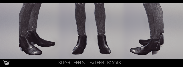 Silver Heel Leather Boots by ToukSik
