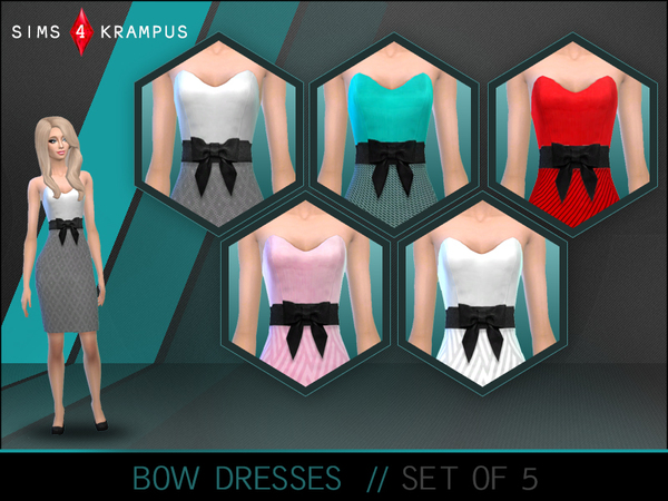 Strapless Bow Dresses by SIms4Krampus