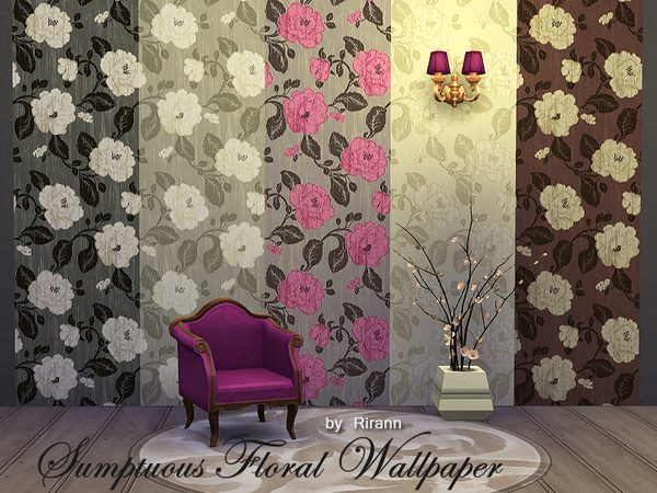 Sumptuous Floral Wallpaper by Rirann