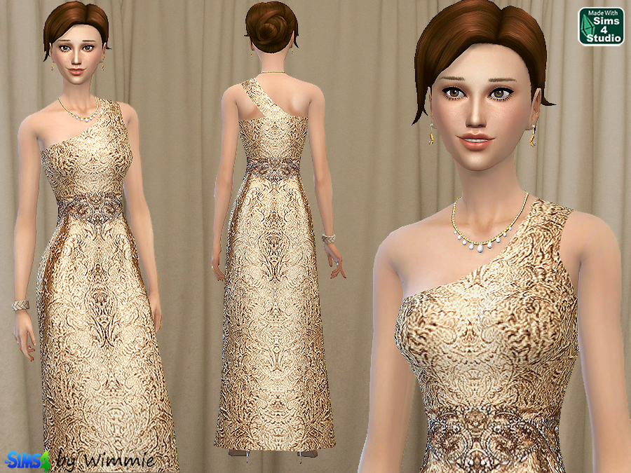 Brocade One-Shoulder Gown at Just For Your Sims