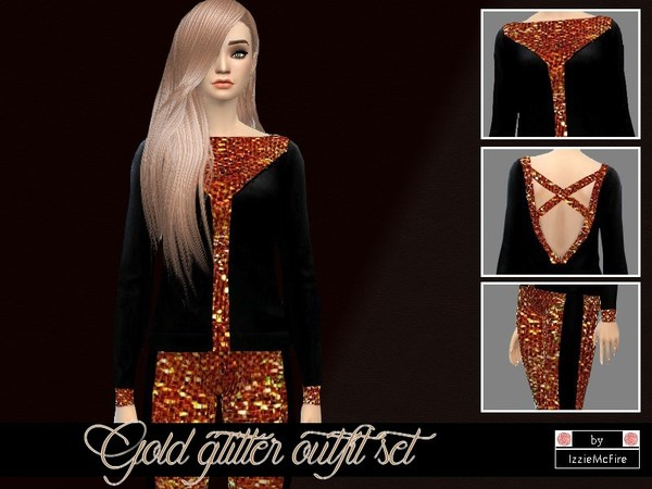 Gold glitter outfit set by IzzieMcFire