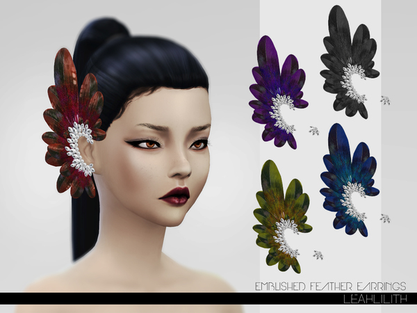 LeahLillith Emblished Feathers Earrings by Leah Lillith
