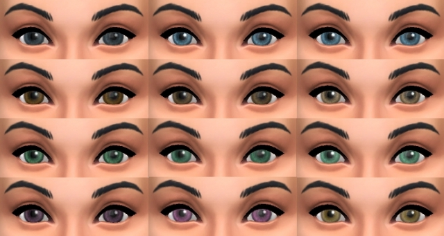 Set of Bashful Eyes in various colours by pinkleafsims