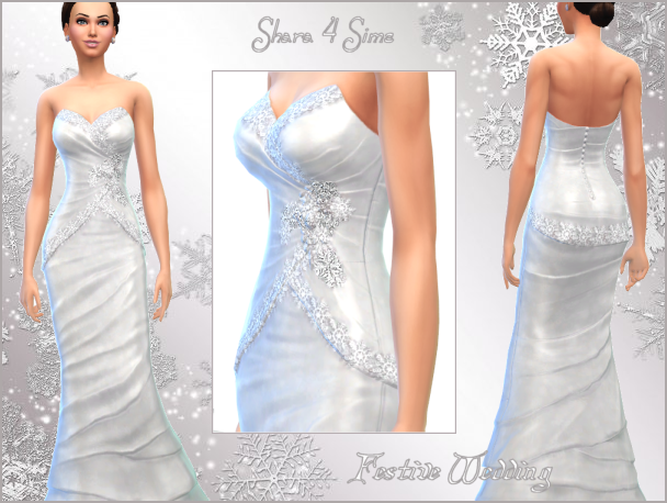 Festive Snowflake Wedding Dress by Shara4Sims