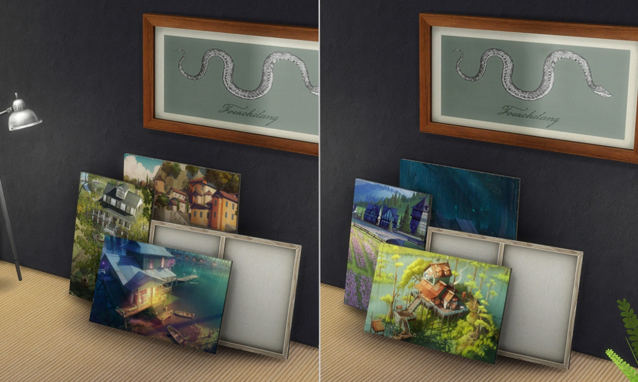 2 painting recolors: Stack of paintings at K-hippie