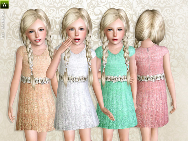 Pastel-colored dress with flower belt by lillka