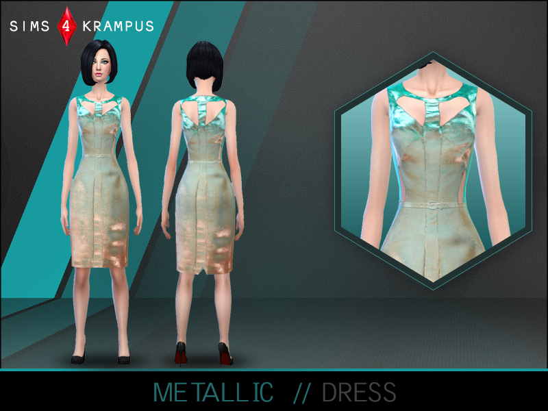 SIms4Krampus Metallic Cutout Dress