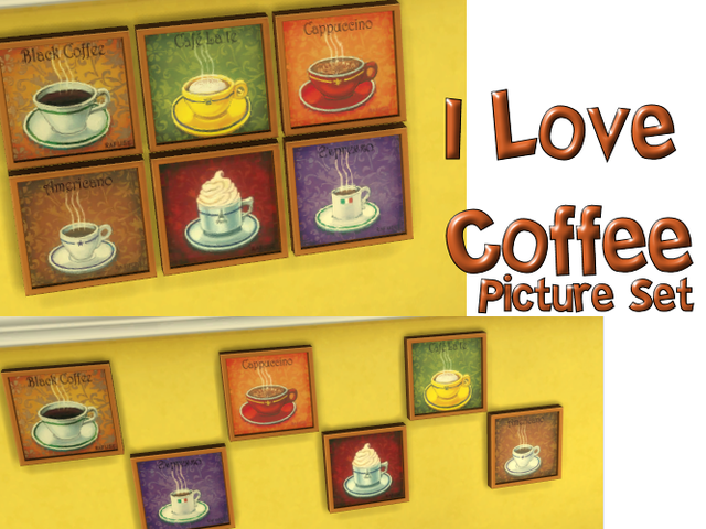 I Love Coffee Picture Set by Violablu