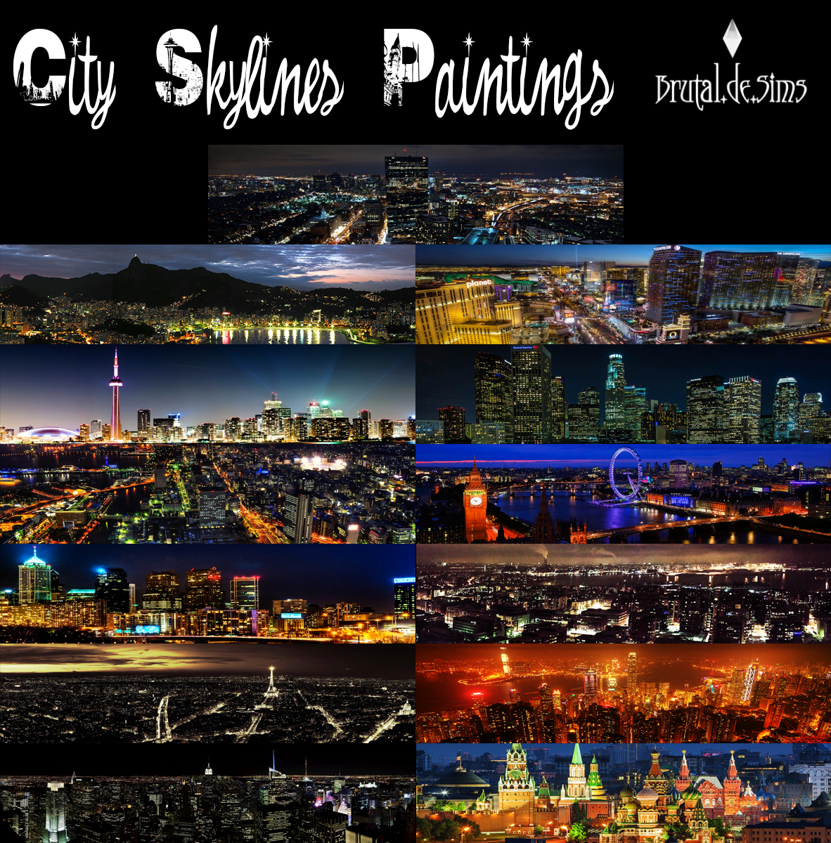 City Skylines paintings at Brutal de Sims4
