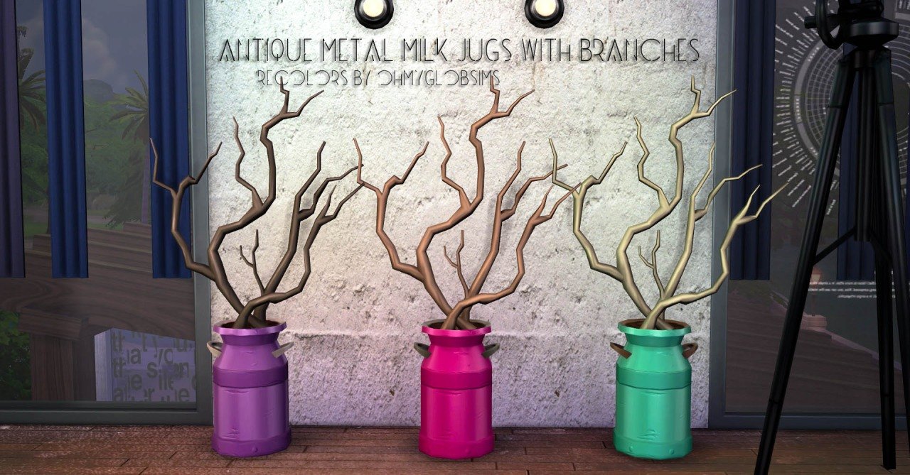 Antique Metal Milk Jugs With Branches Recolors by Ohmyglobsims
