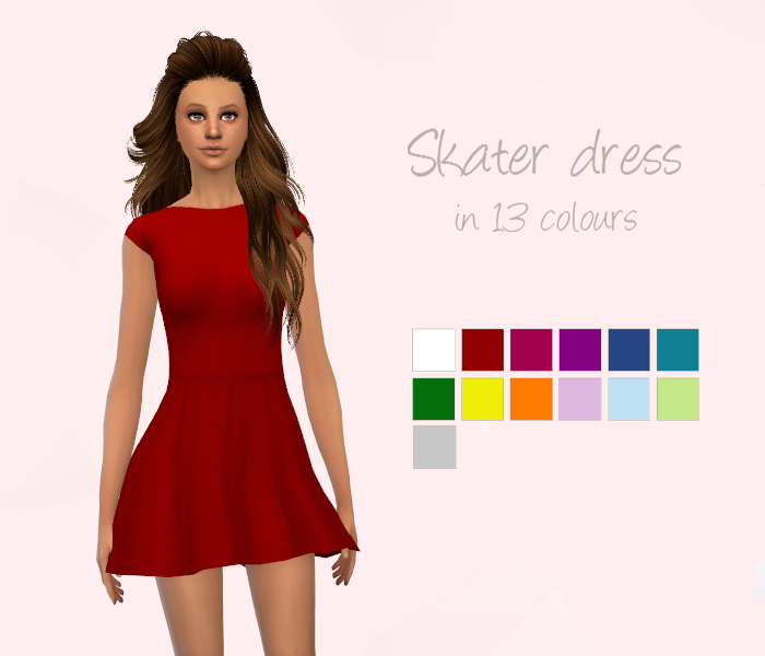 Skater Dress in 13 Colors by Deliriumsims