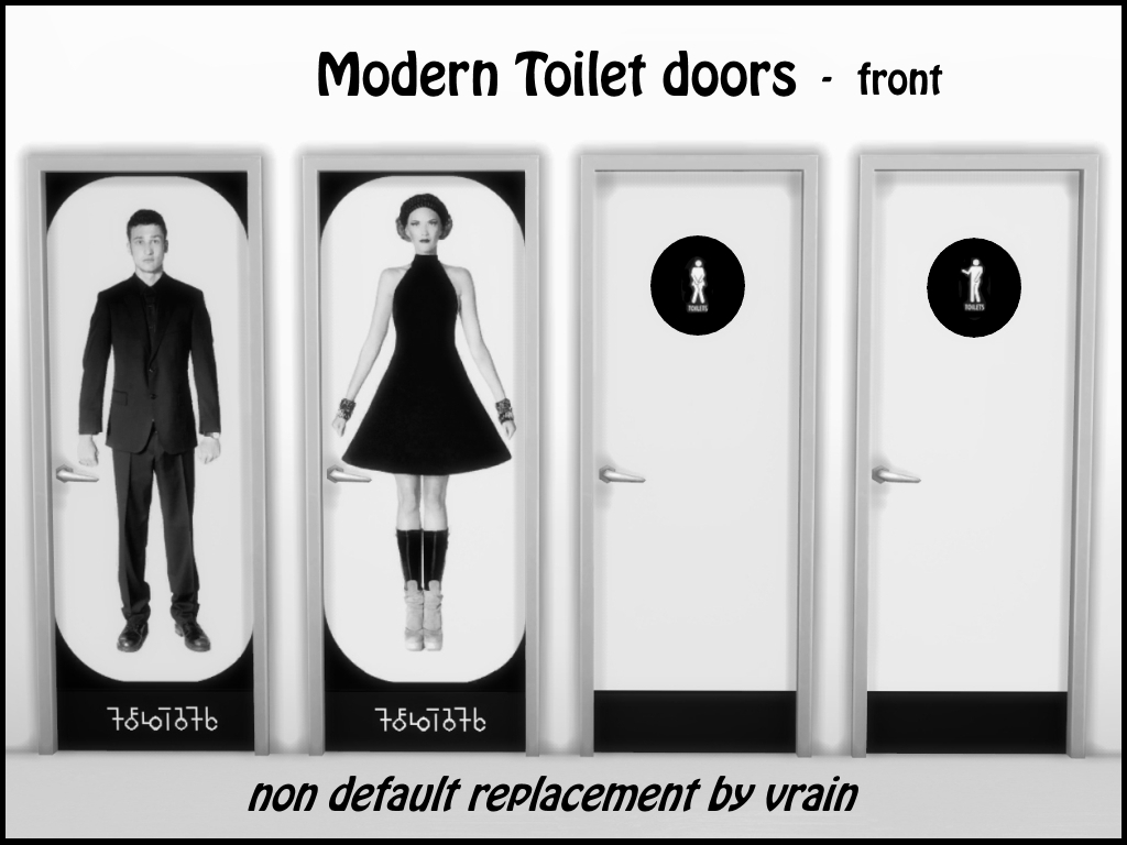 Modern toilet doors by Vrain