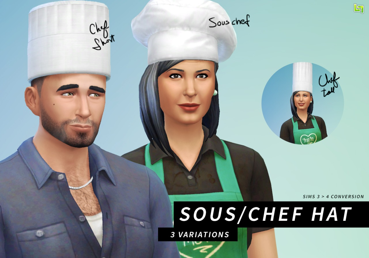 Chef hats (converted from Sims 3) by LumiaLover