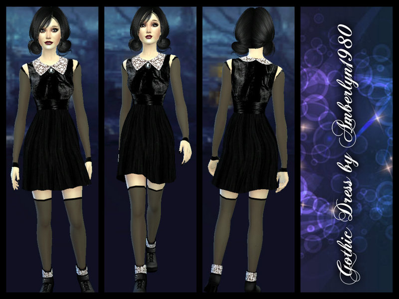 Gothic Dress with collar and camee BY Amberlyn.1980