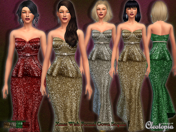 Set15- Xmas Wish Belted Sequin Gown by Cleotopia