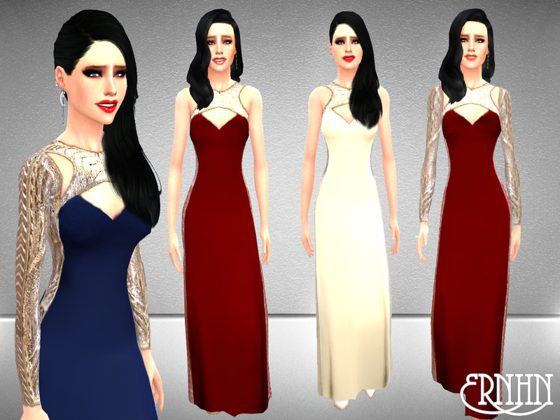 Gold and Silver Leaf Embellished Maxi Dresses BY ernhn