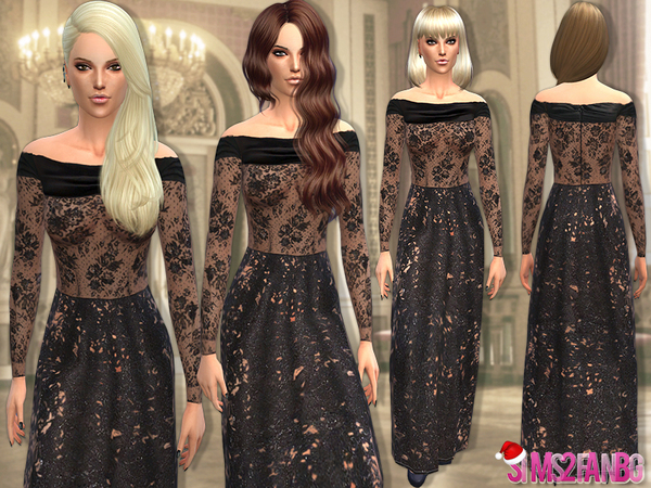 27 - Black lace gown #XMAS gift 2 by sims2fanbg