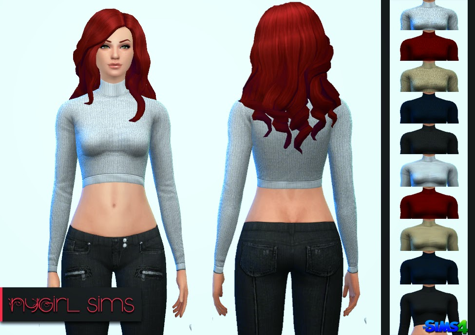 Turtleneck Crop Sweater at NyGirl Sims