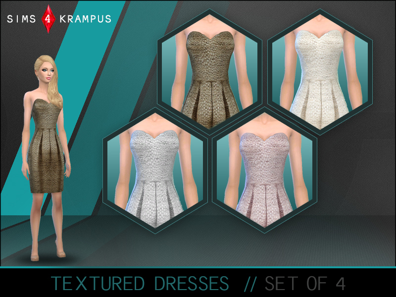 Textured Strapless Dresses  BY SIms4Krampus