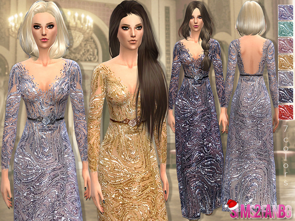 28 - Lace sequin gown #XMAS gift 3 by sims2fanbg