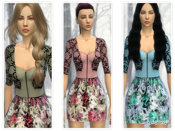 Floral dress with lace cardigan by CherryBerrySim