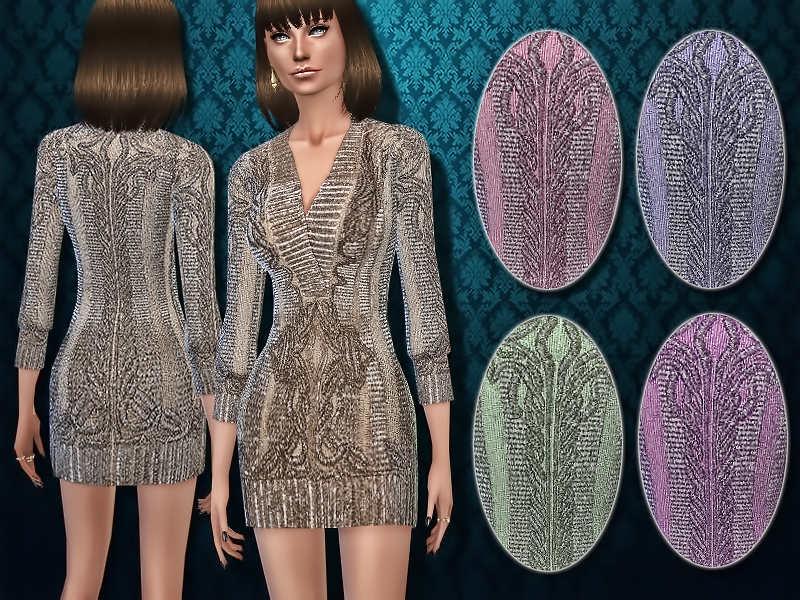Deco-inspired Metallic Sweater Dress  BY Harmonia