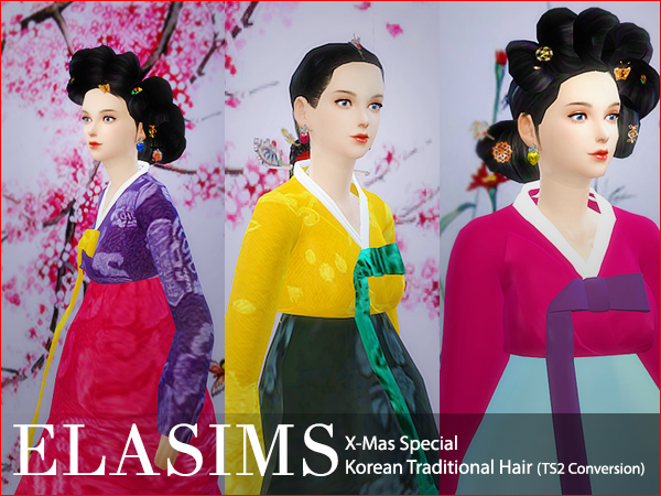 Sims 4 Korean Traditional Hair by Elasims