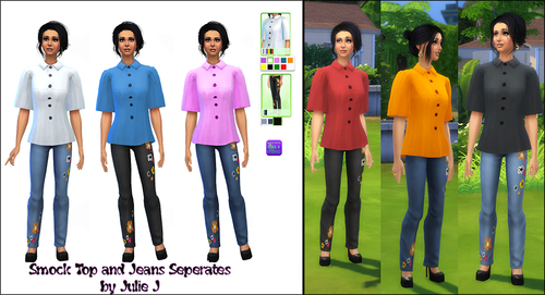Smock Top Recolors and New Jeans Separates by JulieJ