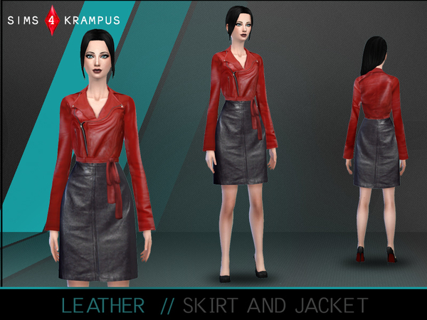 Leather Skirt and Jacket by SIms4Krampus