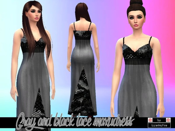 Gray and black lace split maxidress by IzzieMcFire