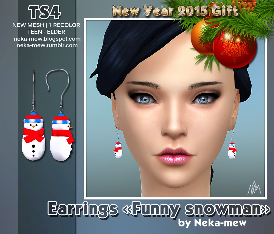 "TS4 New Year 2015 Gift. Earrings ""Funny snowman"" by Neka-Mew"