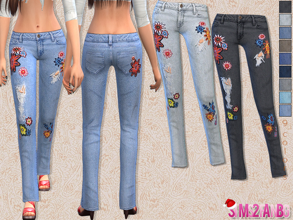 29 - Floral skinny jeans by sims2fanbg