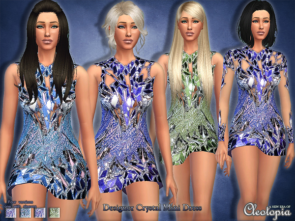 Set18- Crystal Designer Mini Dress by Cleotopia