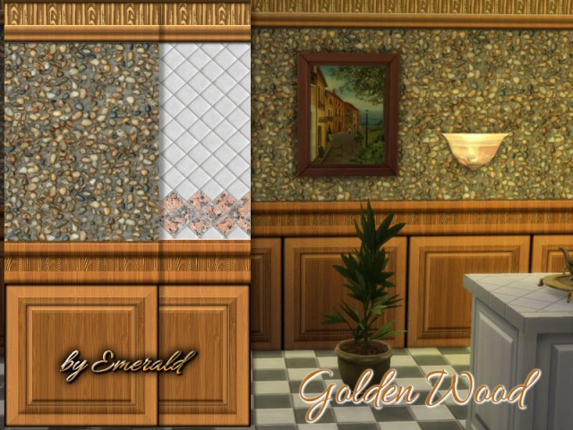 Golden wood walls by emerald