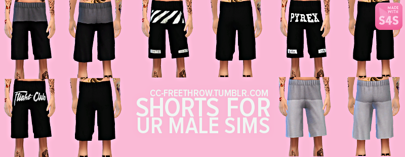 Shorts for your male sims by CC-freethrow