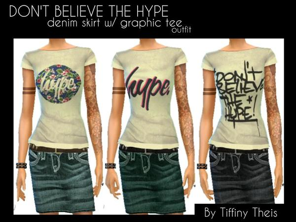 Denim Skirt and Hype tee by tiffybee